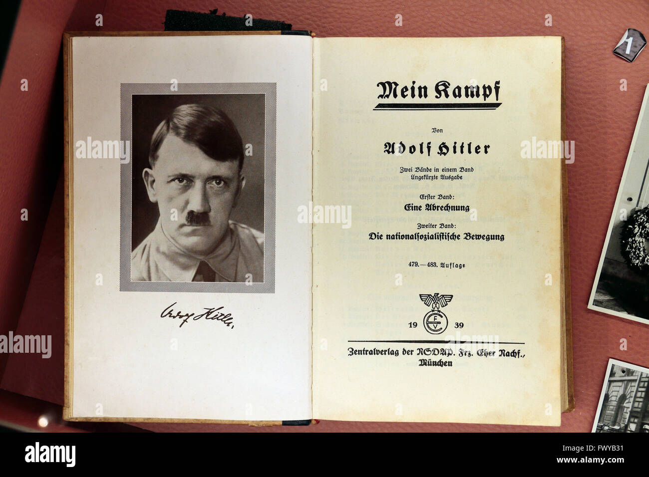 A signed 1939 edition of Adolf Hitler's autobiography, 'Mein Kampf' in the Bastogne War Museum, Bastogne, - Stock Image