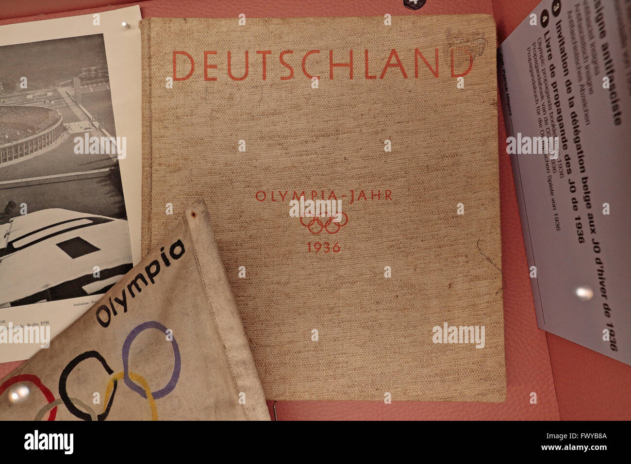 An Olympic propaganda book from the 1936 Berlin games in the Bastogne War Museum, Bastogne, Belgium. - Stock Image