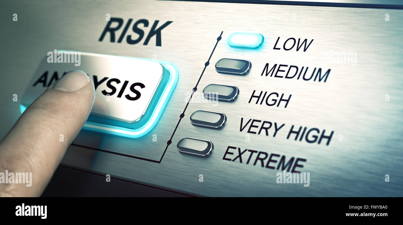 man finger about to press an analysis push button. Focus on the blue led. Concept image for illustration of risk Stock Photo