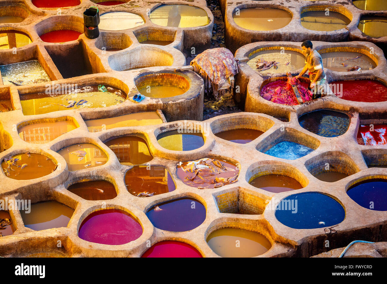 Leather Tannery in Fez Morocco - Stock Image