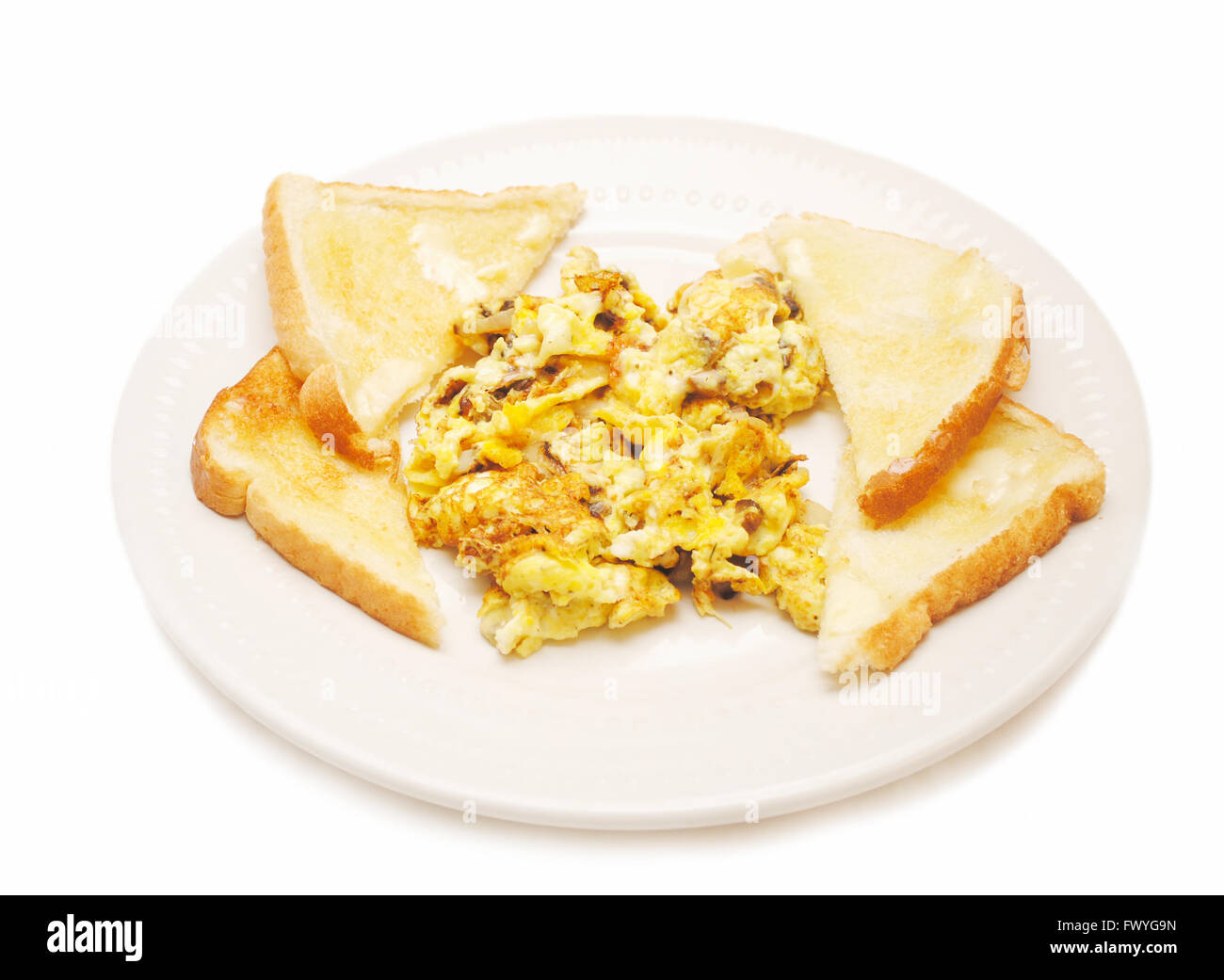 Scrambled Eggs with Mushrooms & Onions - Stock Image