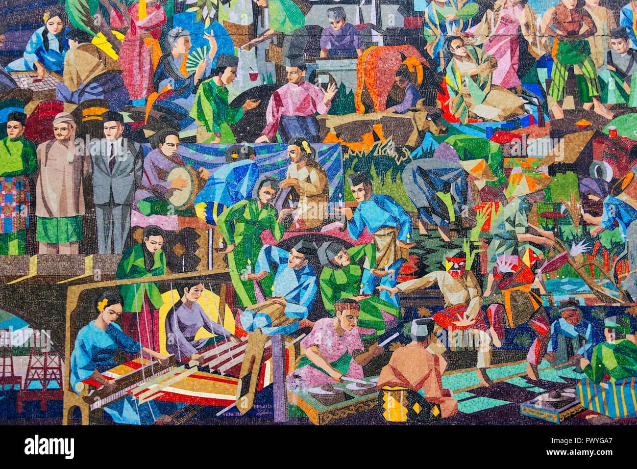 Street mural, Bandar Seri Begawan, Brunei - Stock Image