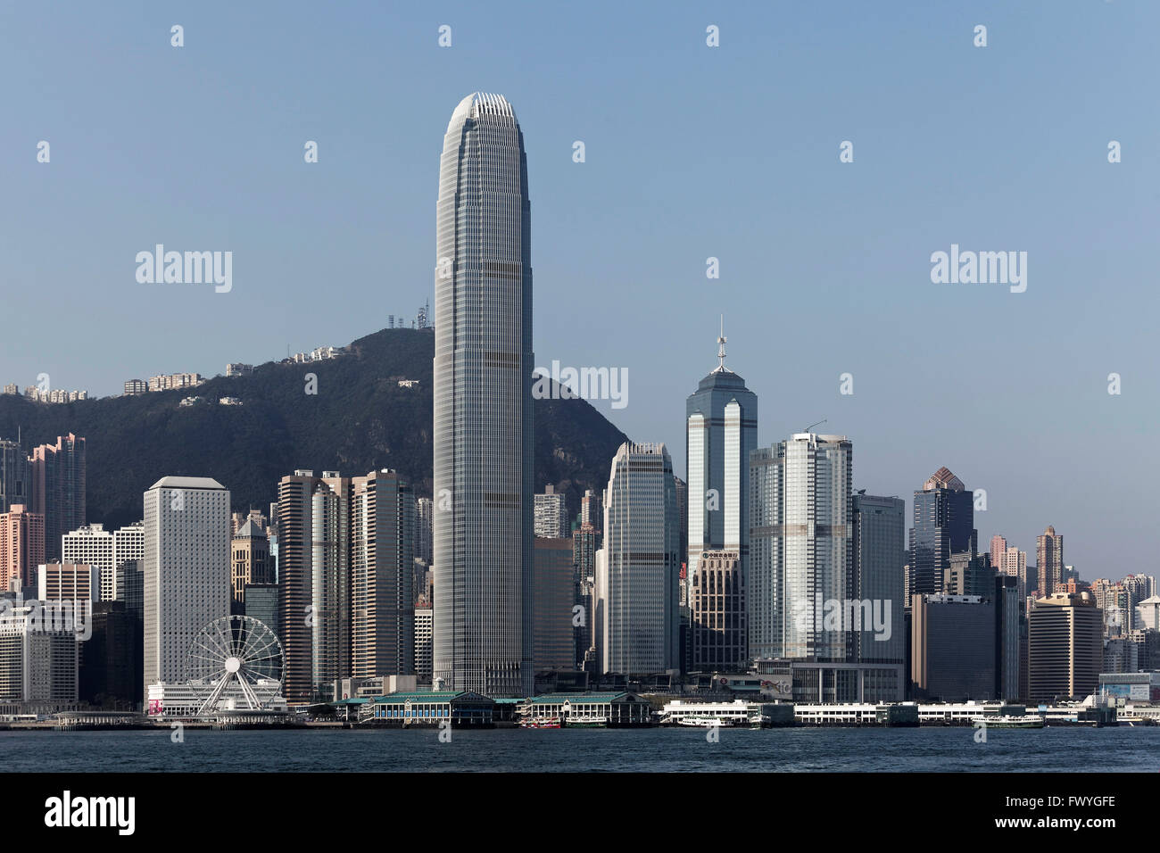 Skyline Hongkong Island, with skyscraper Two International Finance Centre, Central district, Hong Kong, China - Stock Image