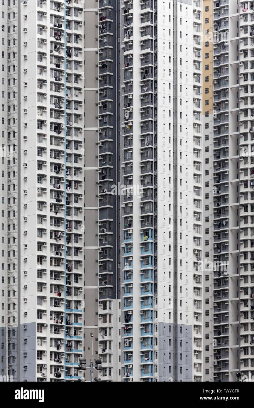 Sky scraper front, Ping Shek Estate, housing development from 1970, Kwun Tong District, Kowloon, Hong Kong, China - Stock Image