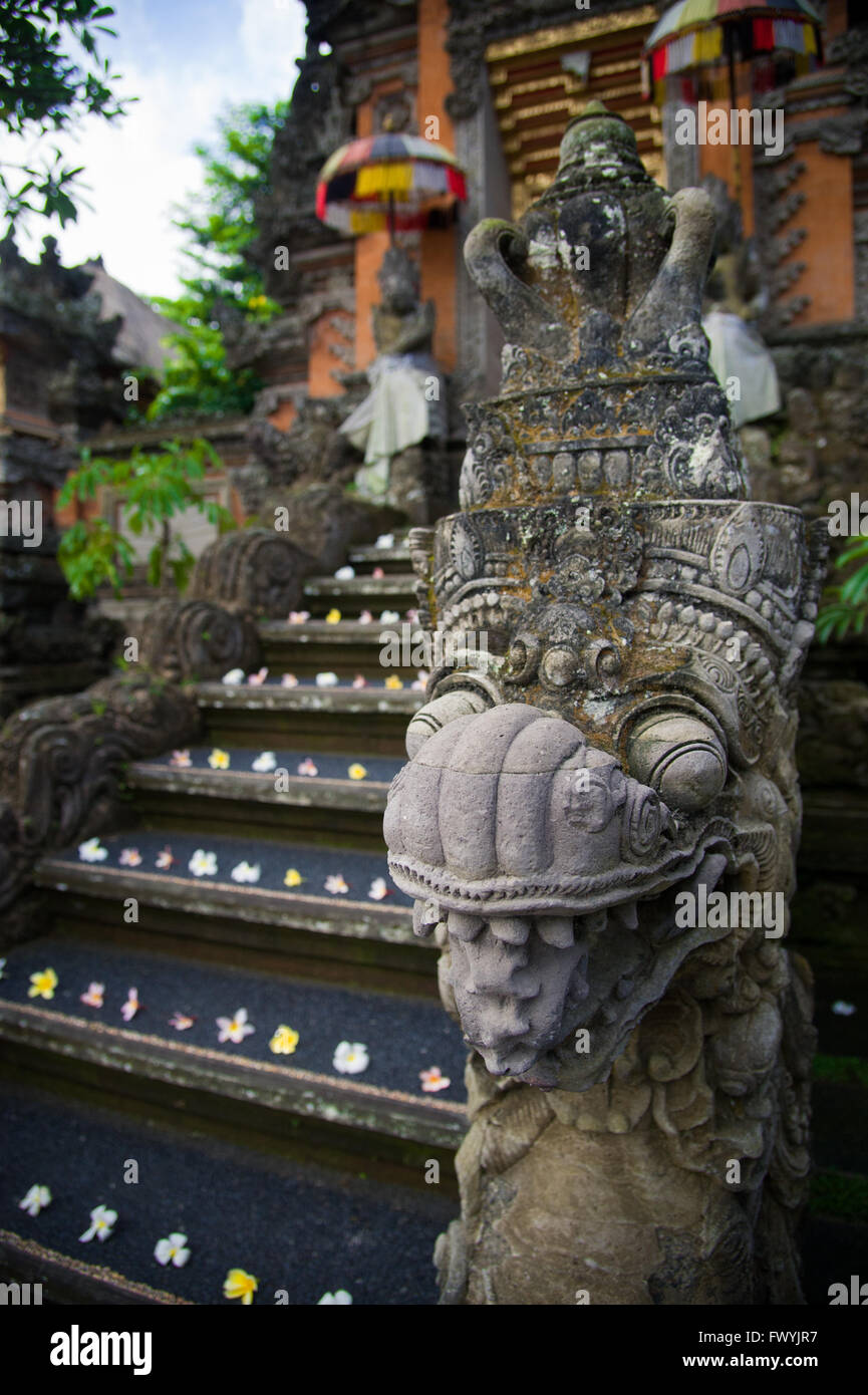 Detail of an entrance of hindu temple in Ubud - Stock Image