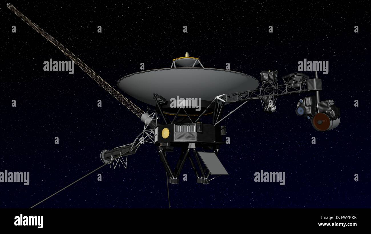 Artist concept illustration showing the Voyager 1 spacecraft entering the space between stars. Interstellar space - Stock Image