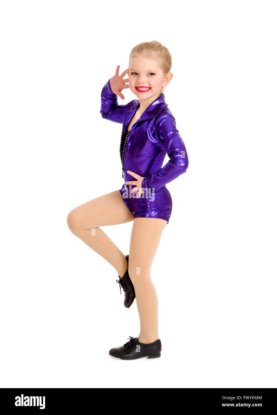4f10cc39c A Junior Petite Tap Dance Kid in Girls Sassy Recital Costume Stock ...