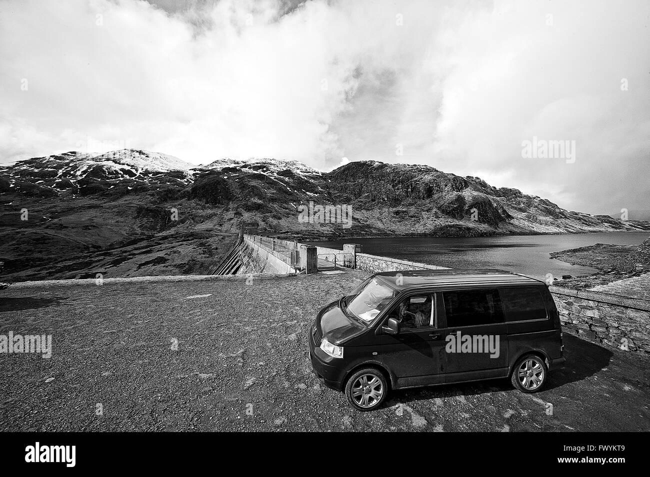 T5, transporter, vanlife, new age, adventure, blue, vw, britain, bus, scotland, highlands, - Stock Image