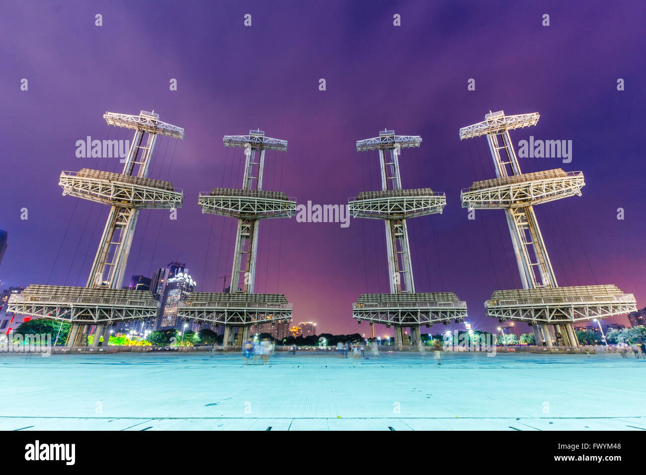 Night scene of Haixinsha Asian Games - Stock Image