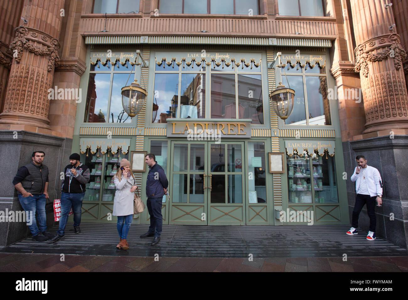 Harrods Ladurée, luxury Parisian tea room, Harrods, Knightsbridge, London, UK - Stock Image