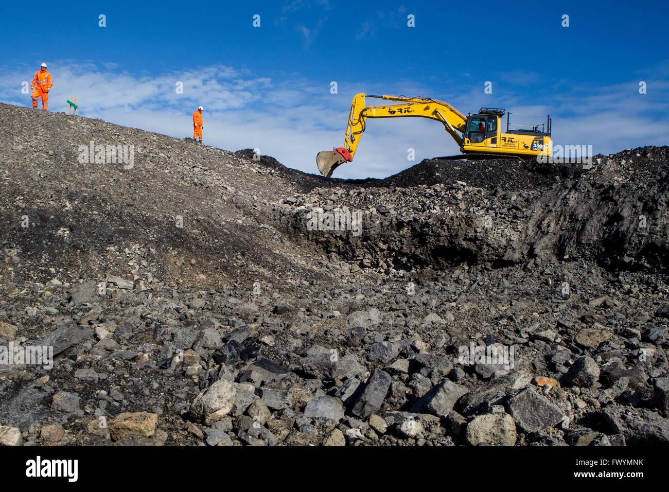 Borders Railway Construction showing diggers clearing rocks - Stock Image