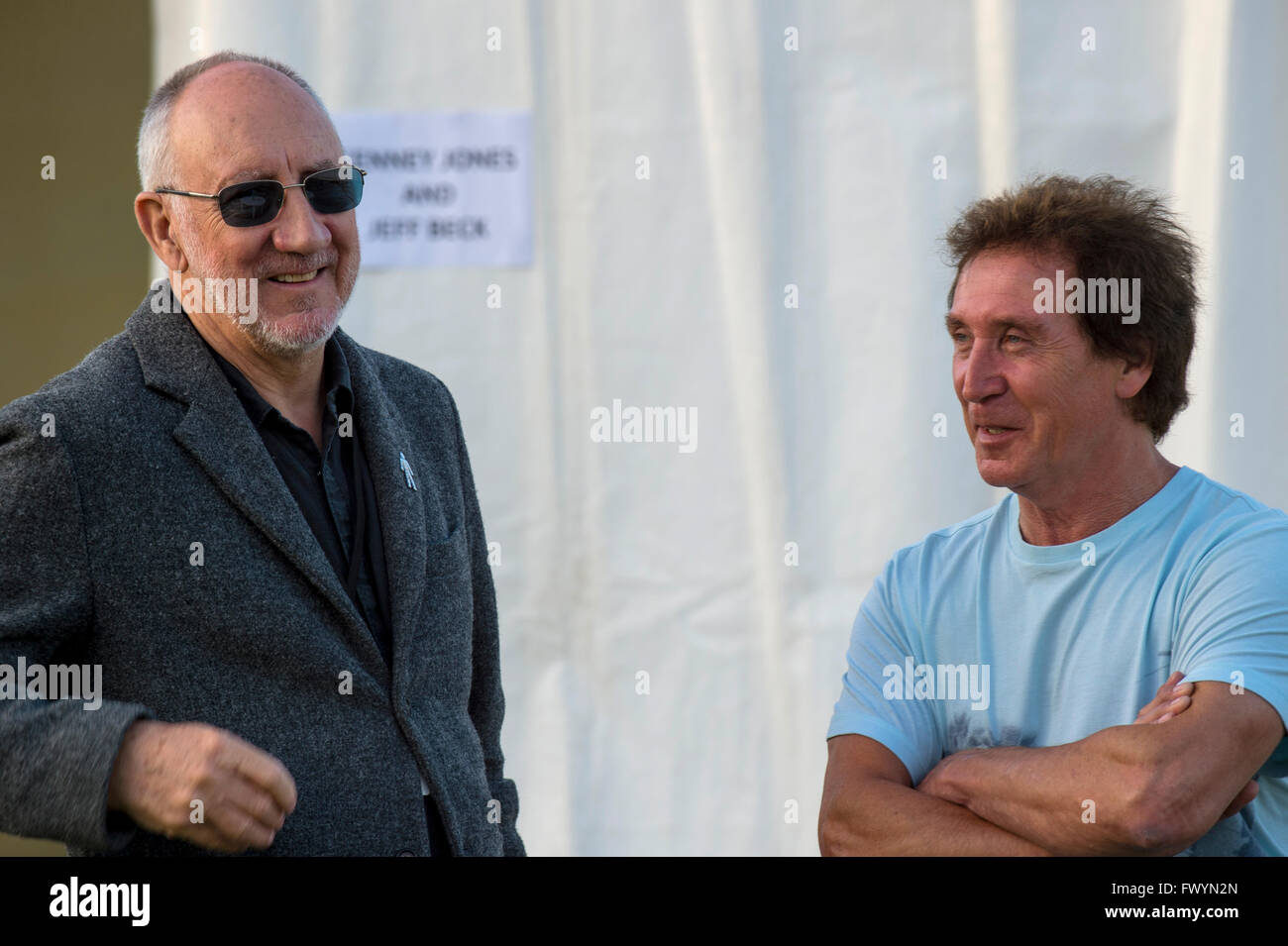 Pete Townsend and Kenny Jones of British rock band The Who in conversation backstage at the 2014 Rock 'n' - Stock Image