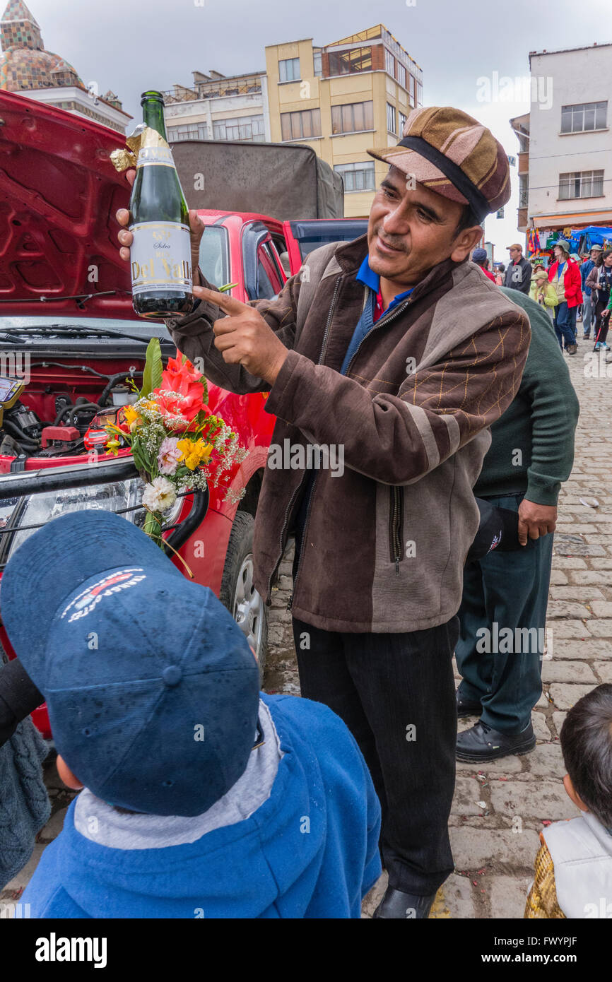 The blessing of the automobiles in Copacabana, Bolivia is the most important pilgrimage in Bolivia. - Stock Image