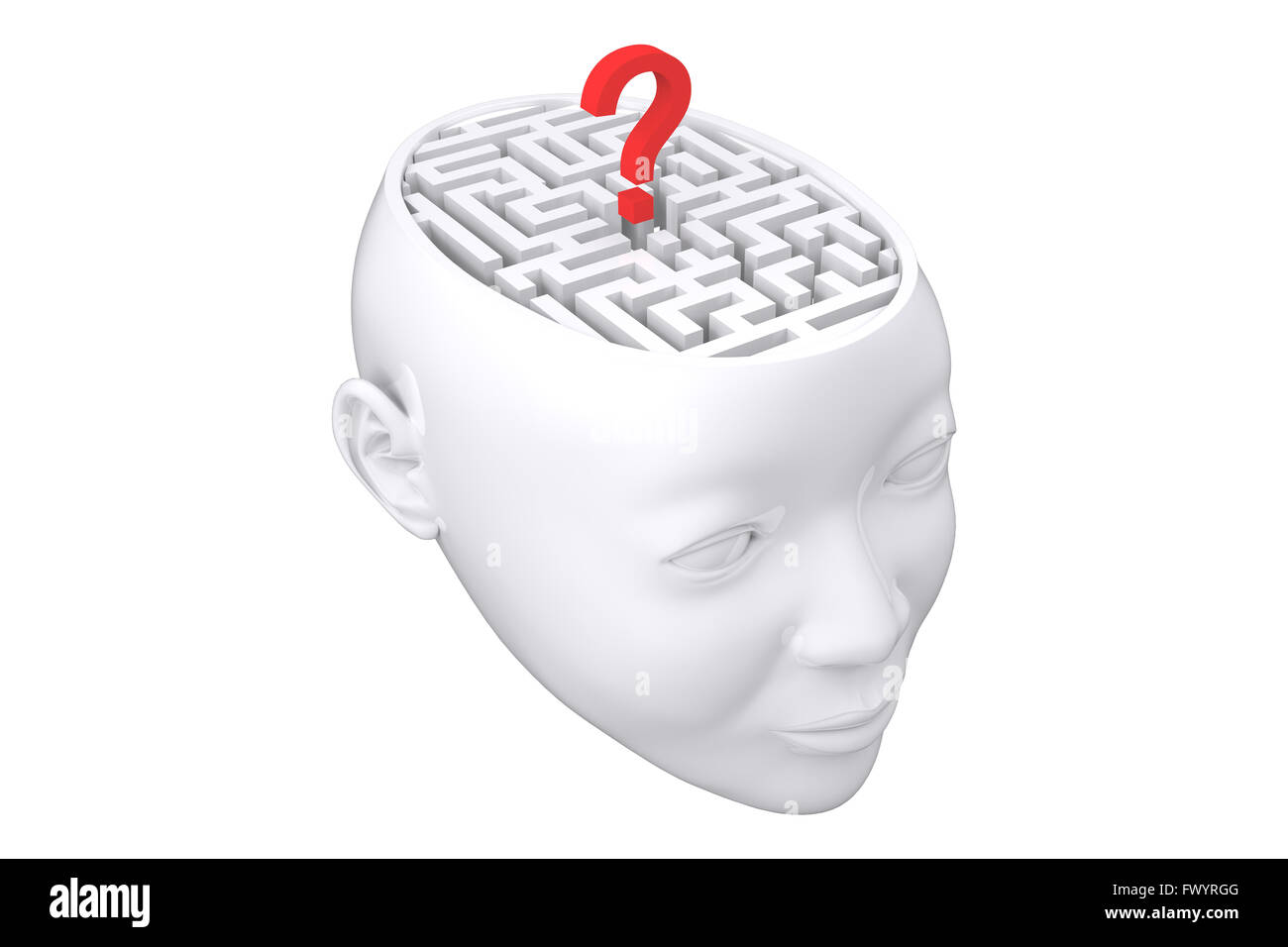 Composite image of maze as brain with question mark - Stock Image