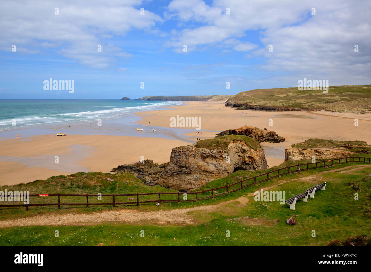 Perranporth North Cornwall UK one of the best sandy surfing beaches in the uk - Stock Image