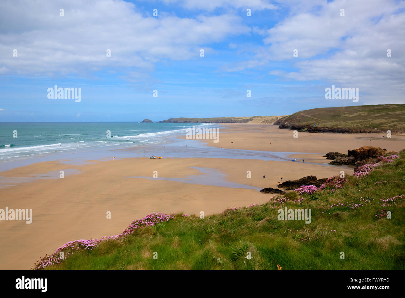 Perranporth beach North Cornwall UK popular cornish surfing beaches - Stock Image