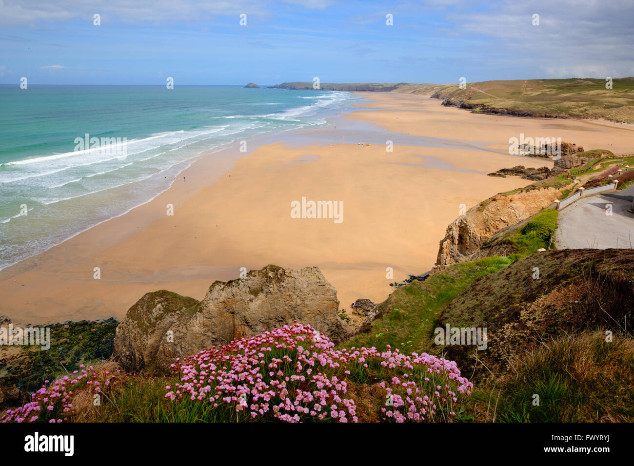 Perranporth beach North Cornwall UK best sandy surfing beaches in the uk - Stock Image