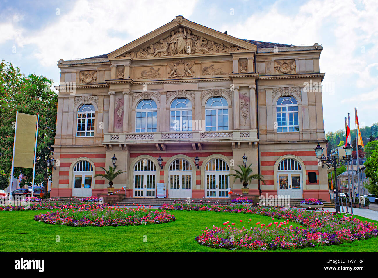 Street view to Baden-Baden Theater. Baden-Baden is a spa town. It is situated in Baden-Wurttemberg in Germany. Theater - Stock Image