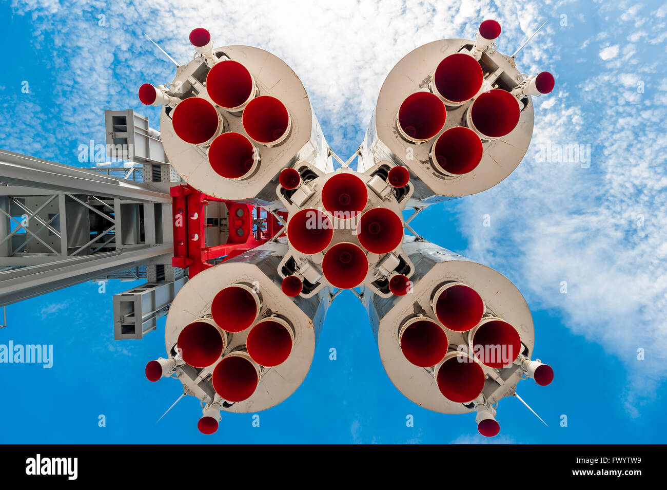 the nozzle large rockets against the blue sky - Stock Image