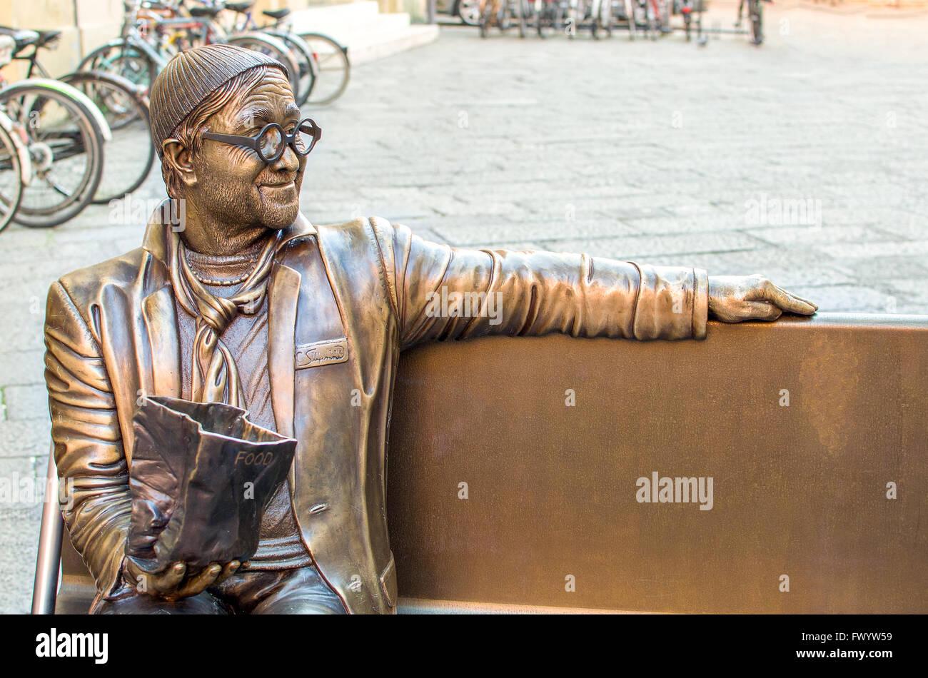 statue in honor of the famous Italian singer Lucio Dalla in Piazza Celestine Stock Photo