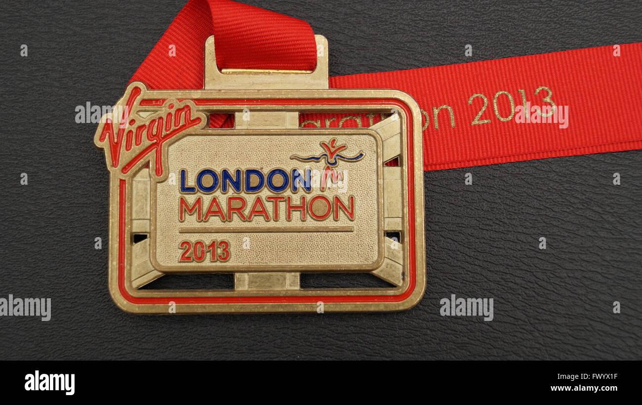 London Marathon 2013 finishers medal - Stock Image