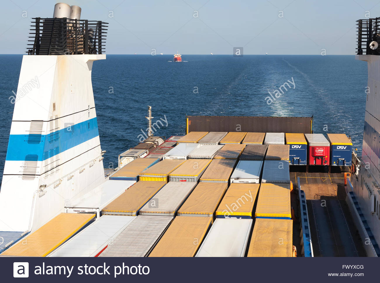Freight on board of Finnlady cargo ship - Stock Image
