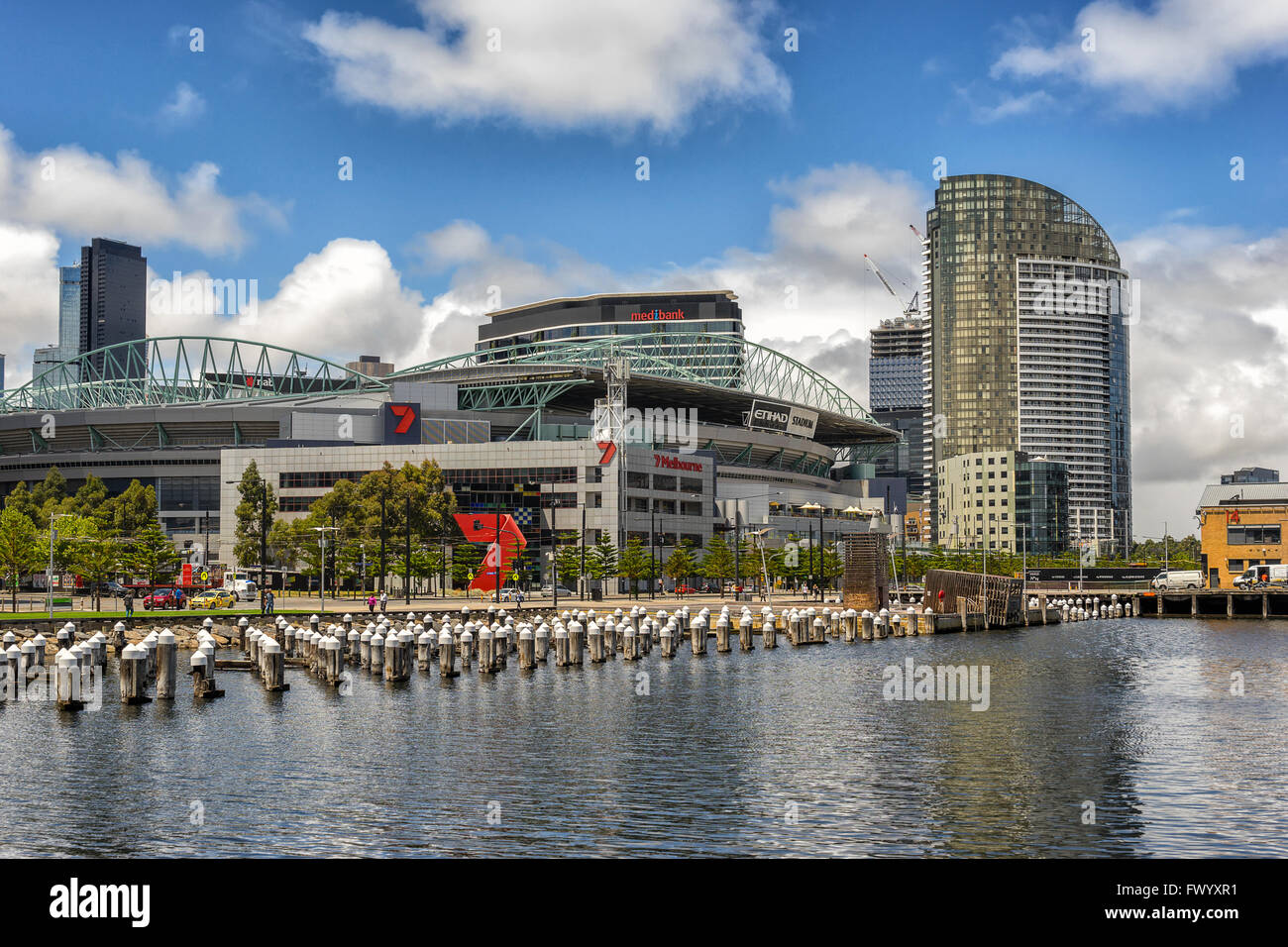 Victoria Harbor in Docklands Melbourne - Stock Image