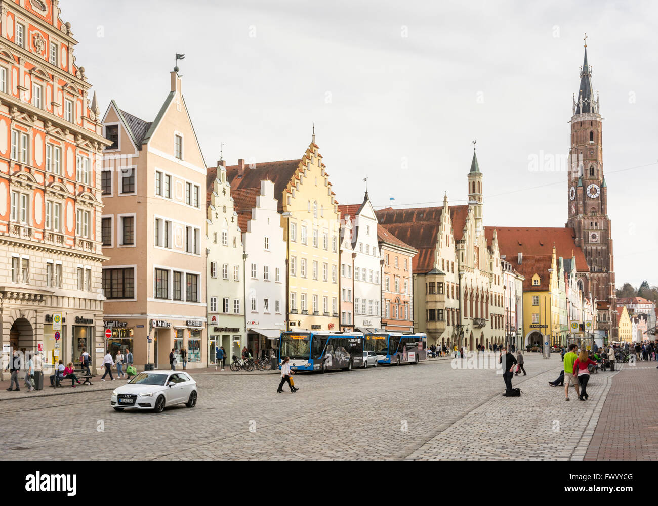 LANDSHUT, GERMANY - MARCH 31. Tourists at a  pedestrian area in Landshut, Germany on March 31, 2016. - Stock Image