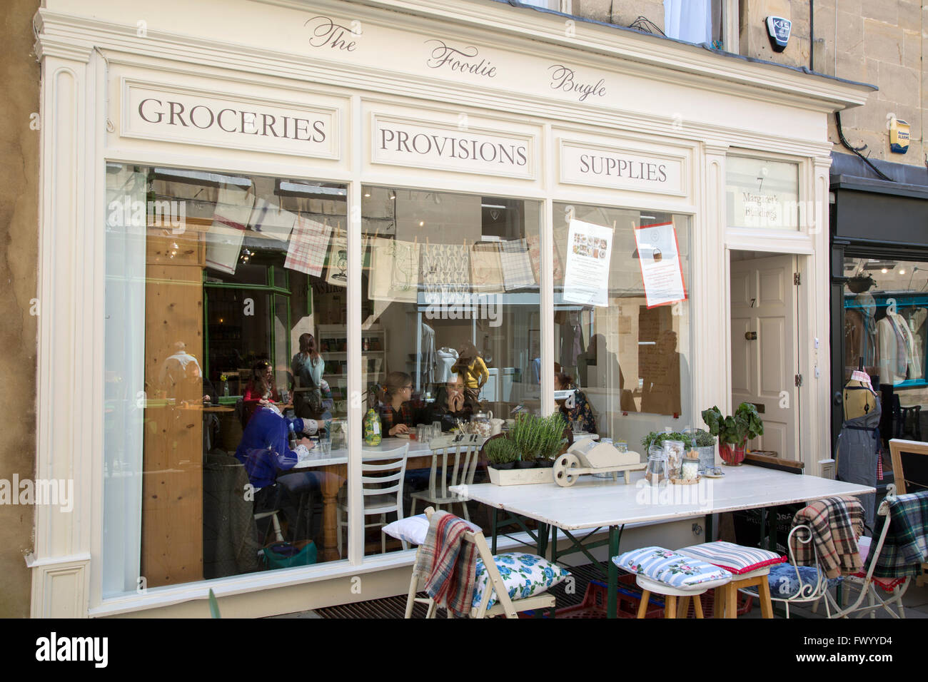 The Foodie Bugle Cafe and Grocer, Bath, England, UK - Stock Image