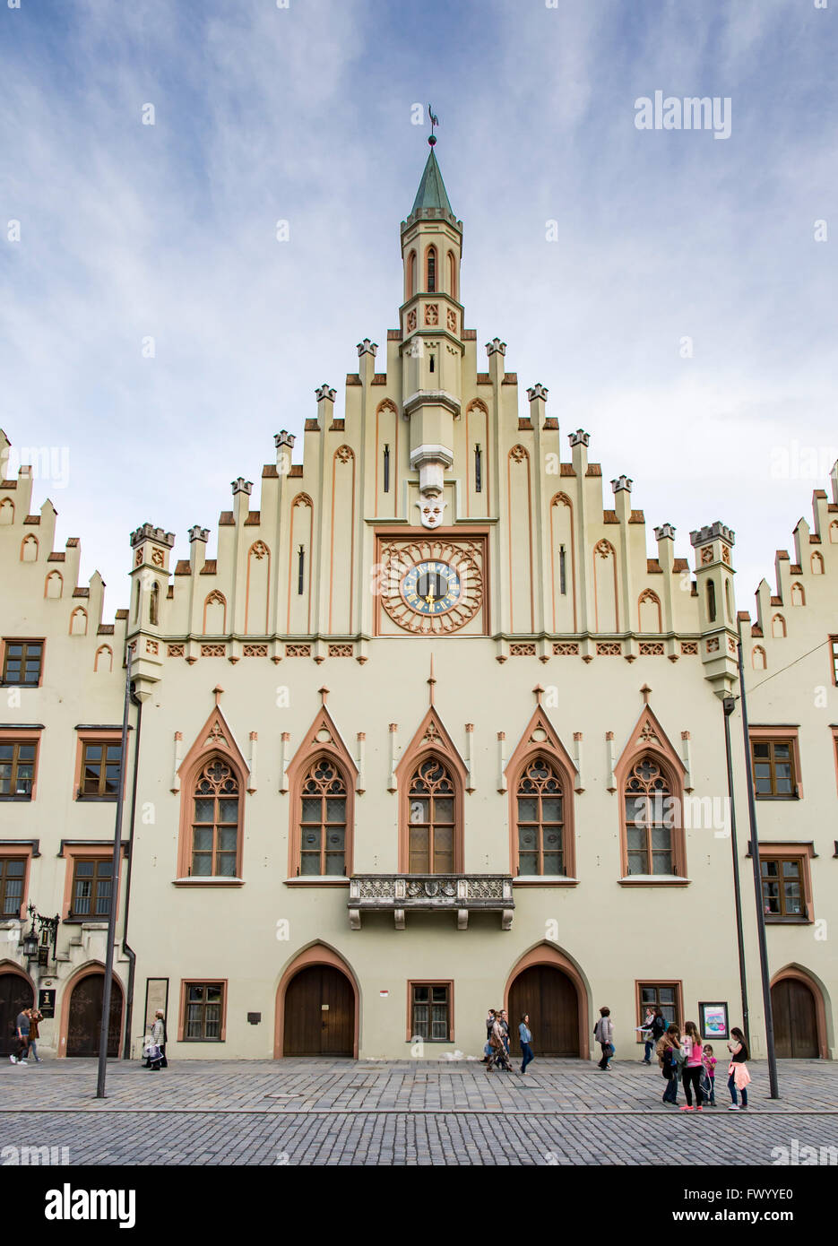 LANDSHUT, GERMANY - MARCH 31. Tourists at the historic town hall in Landshut, Germany on March 31, 2016. - Stock Image