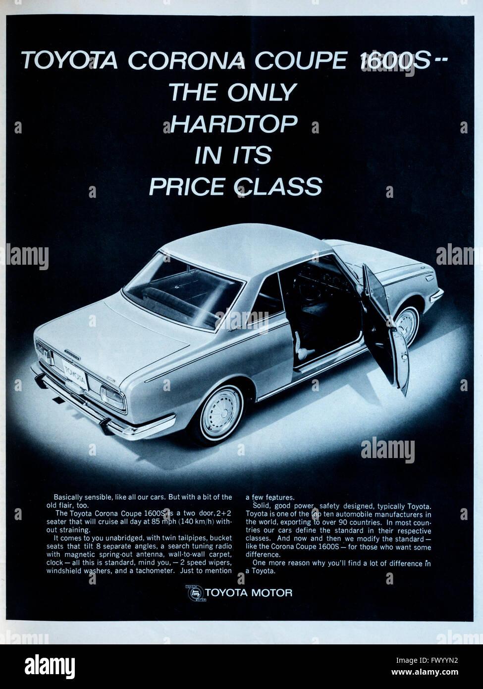 Corona Auto Sales >> 1960s magazine advertisement advertising the Toyota Corona Coupe Stock Photo - Alamy