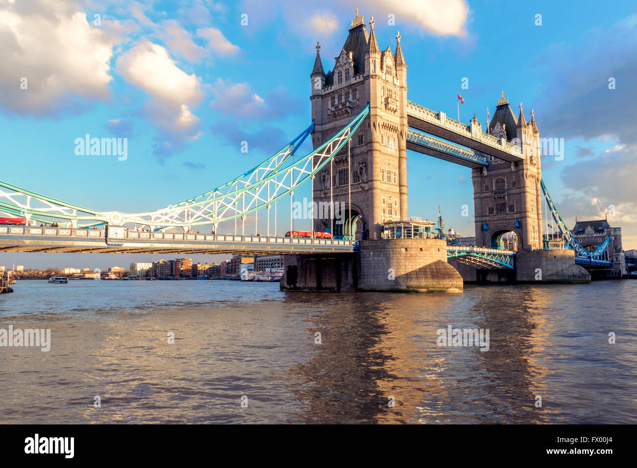 Sunset at Tower Bridge in London,  United Kingdom - Stock Image