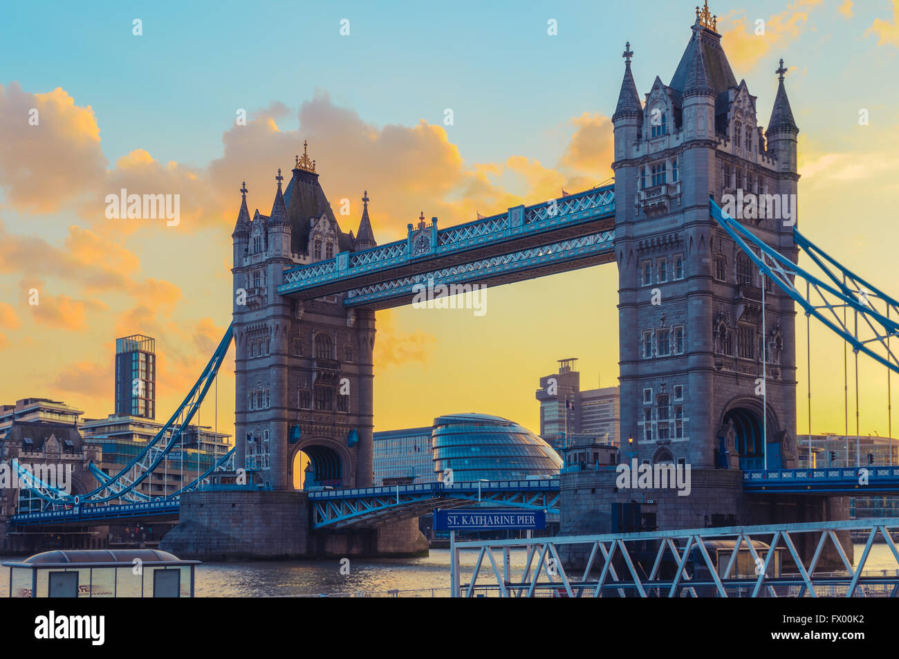 Sunset at Tower Bridge and St. Katharine Pier  in London, United Kingdom - Stock Image