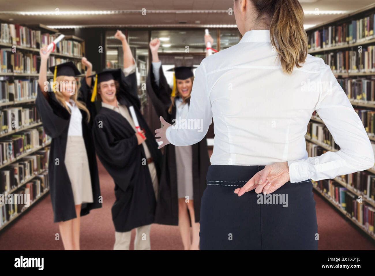 Composite image of businesswoman offering handshake with fingers crossed behind her back - Stock Image