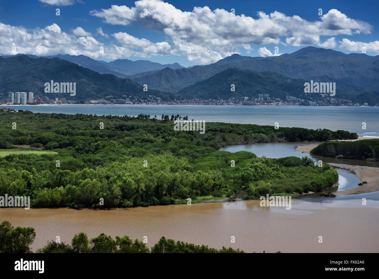 Puerto Vallarta between Banderas Bay and muddy Ameca river and Sierra Madre Mountains Mexico - Stock Image