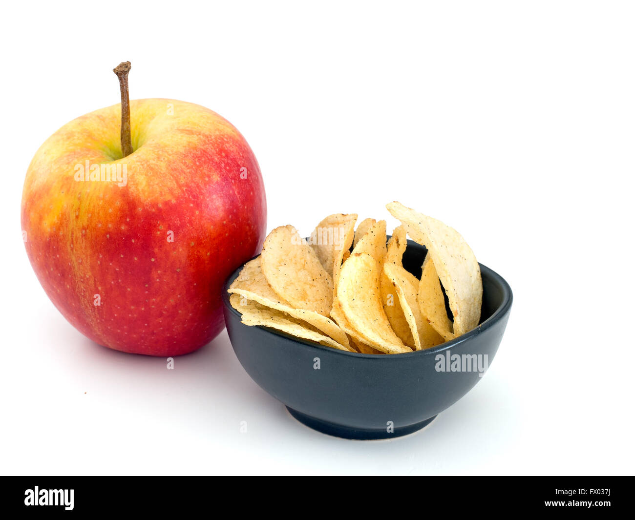 Healthy Eating Choice Healthy Or Unhealthy On White Stock Photo