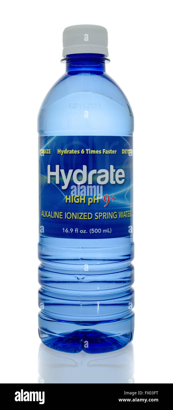 Winneconne, WI - 5 March 2016:  A bottle of hydrate water - Stock Image