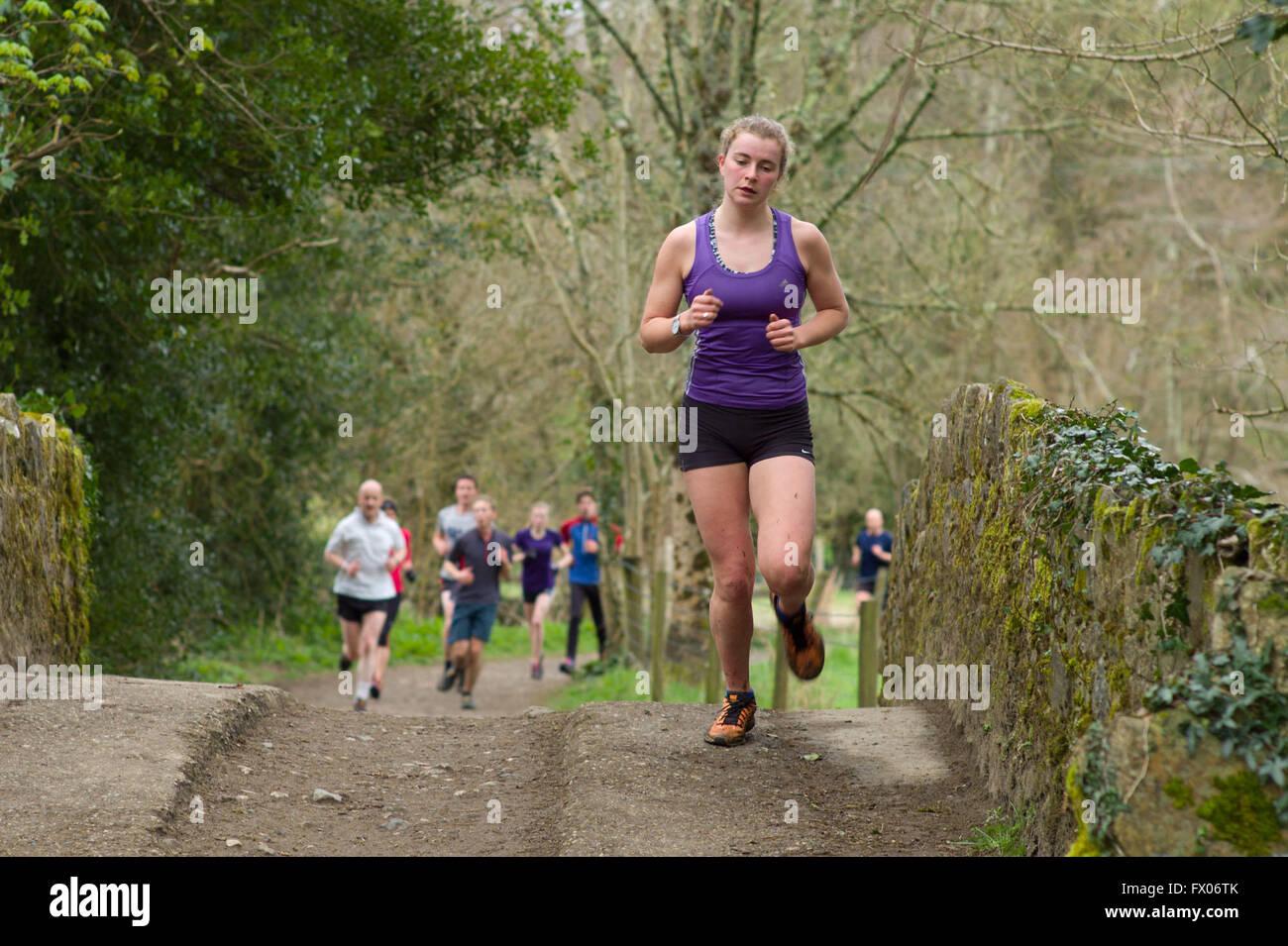 Bovey Tracey, Devon, UK. 09th Apr, 2016. Parke 5 kilometer fun run at Parke Dartmoor National Park HQ Bovey Tracey - Stock Image