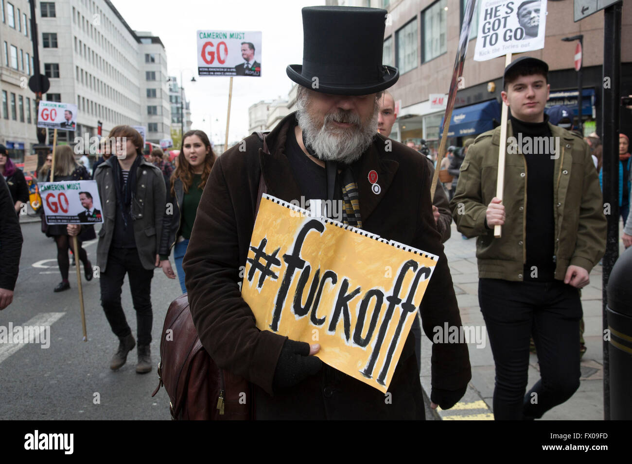 London, UK. 09th Apr, 2016. Demonstration goes on the move as protesters gather against David Cameron's links - Stock Image