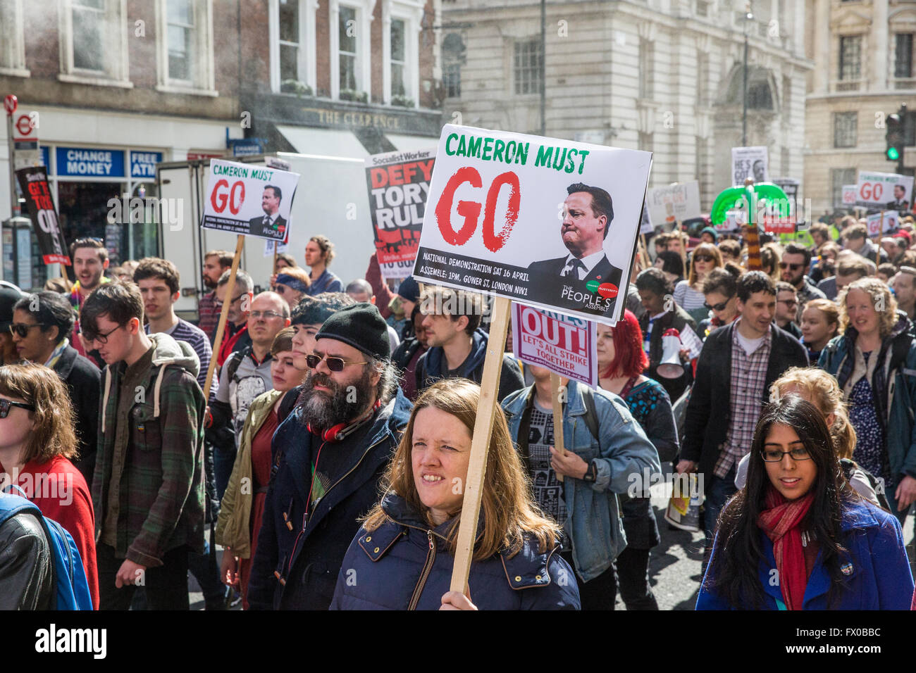 London, UK. 9th April, 2016. Hundreds of protesters march along Whitehall to call on David Cameron to 'close tax - Stock Image