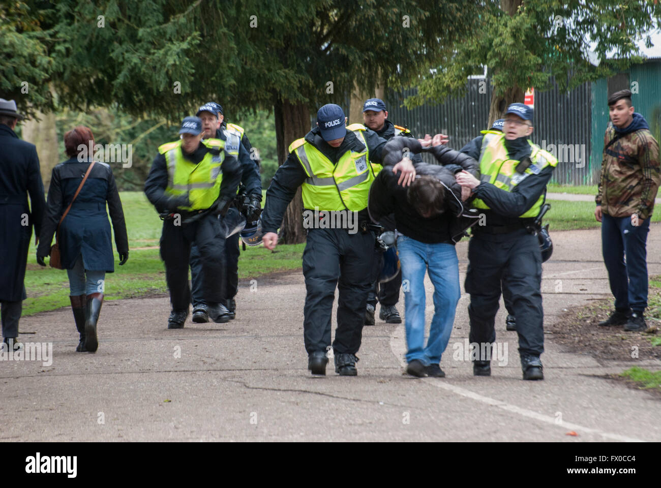 High Wycombe, Buckinghamshire, UK. 9th April 2016. A counter-protester is arrested in a local park on suspicion - Stock Image