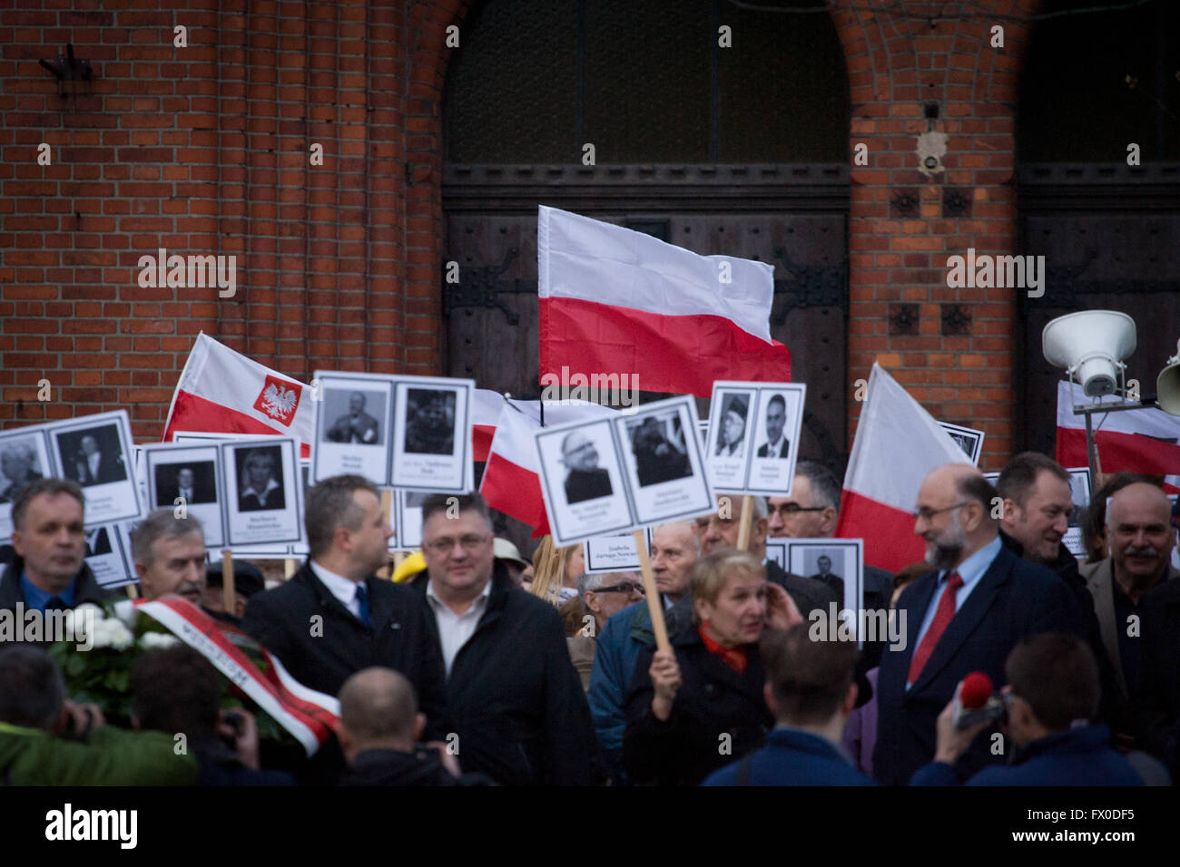 People are seen commemorating the crash of the government Tupolev aircraft in Smolensk, Russia which killed several - Stock Image