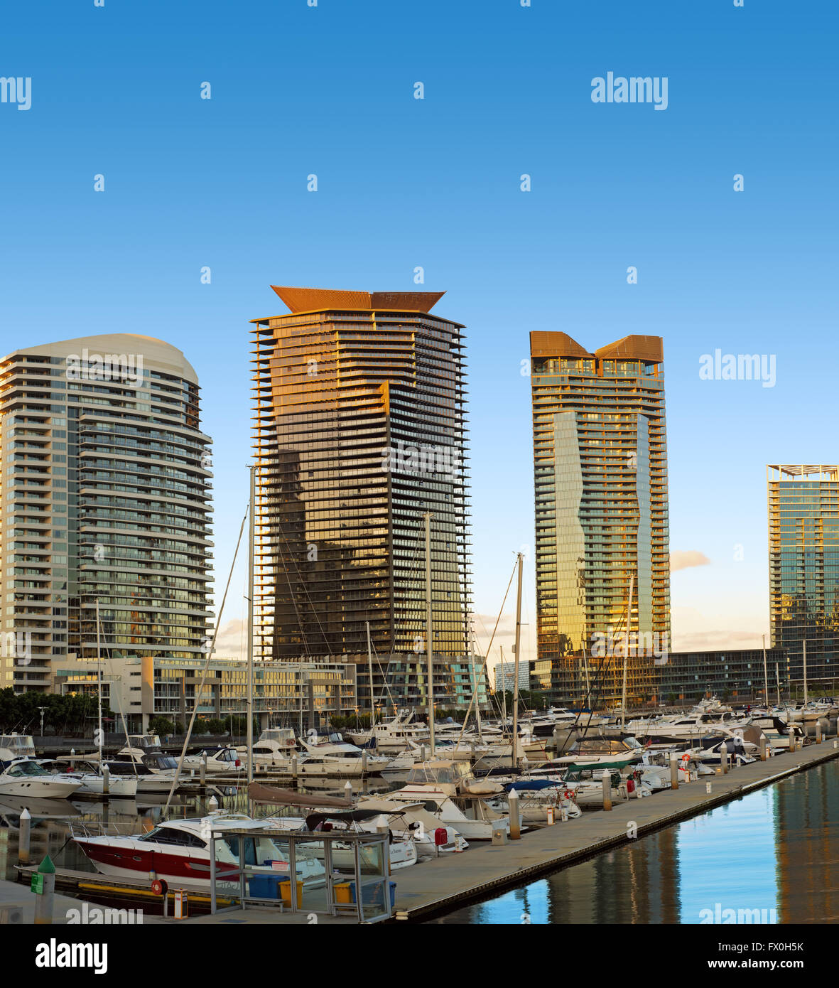 A photo of high apartment buildings in the waterfront at Docklands, Melbourne, Australia. - Stock Image