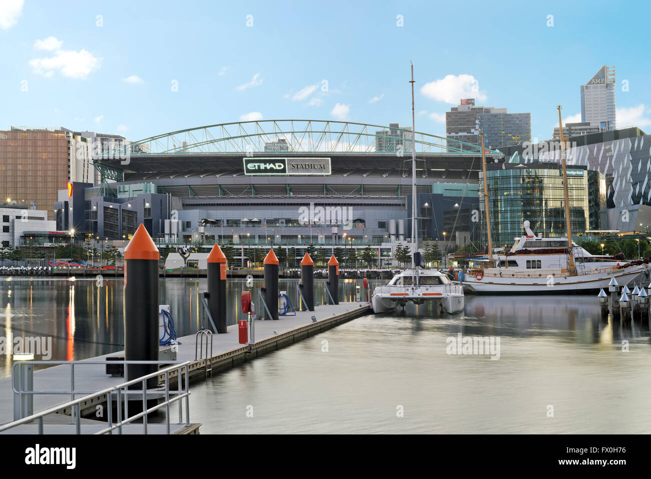 A photo of Etihad stadium in Docklands, taken early morning. - Stock Image