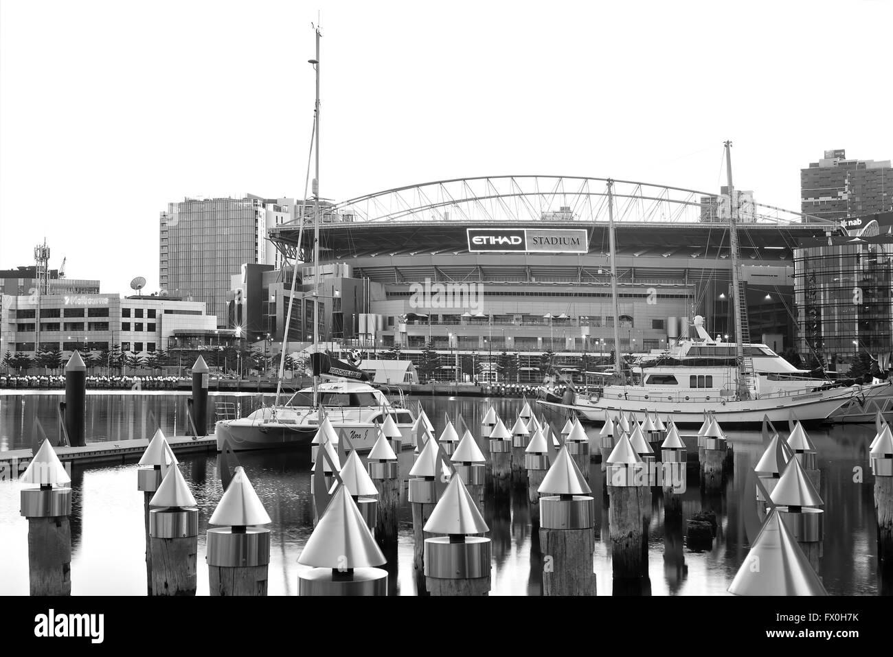 A black and white photo of Etihad stadium in Docklands, Melbourne, Australia. - Stock Image