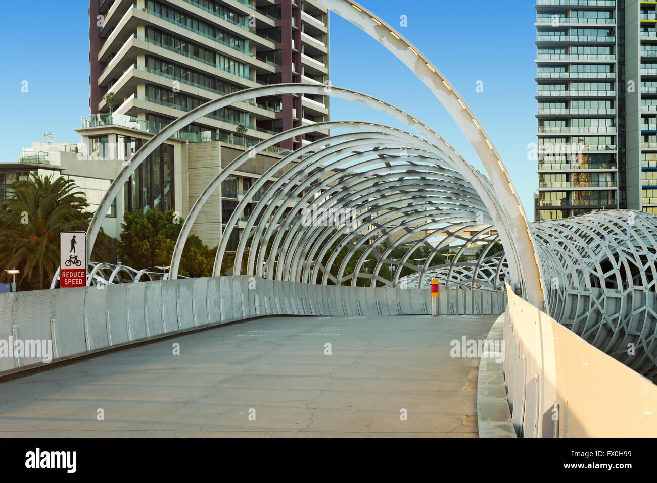 A photo of Webb bridge in Docklands, Melbourne. - Stock Image