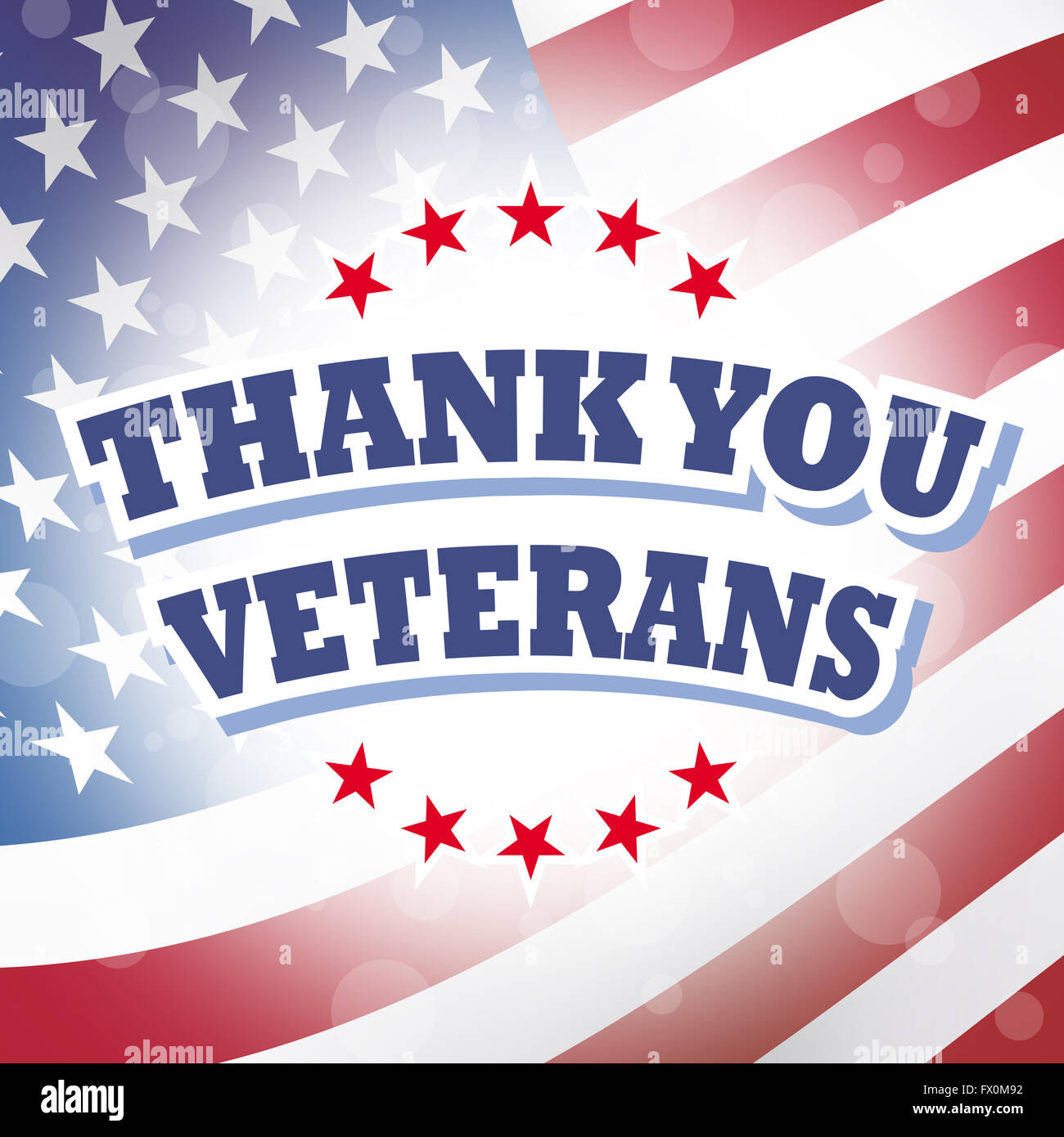 Thank You Veterans Banner With American Flag Background