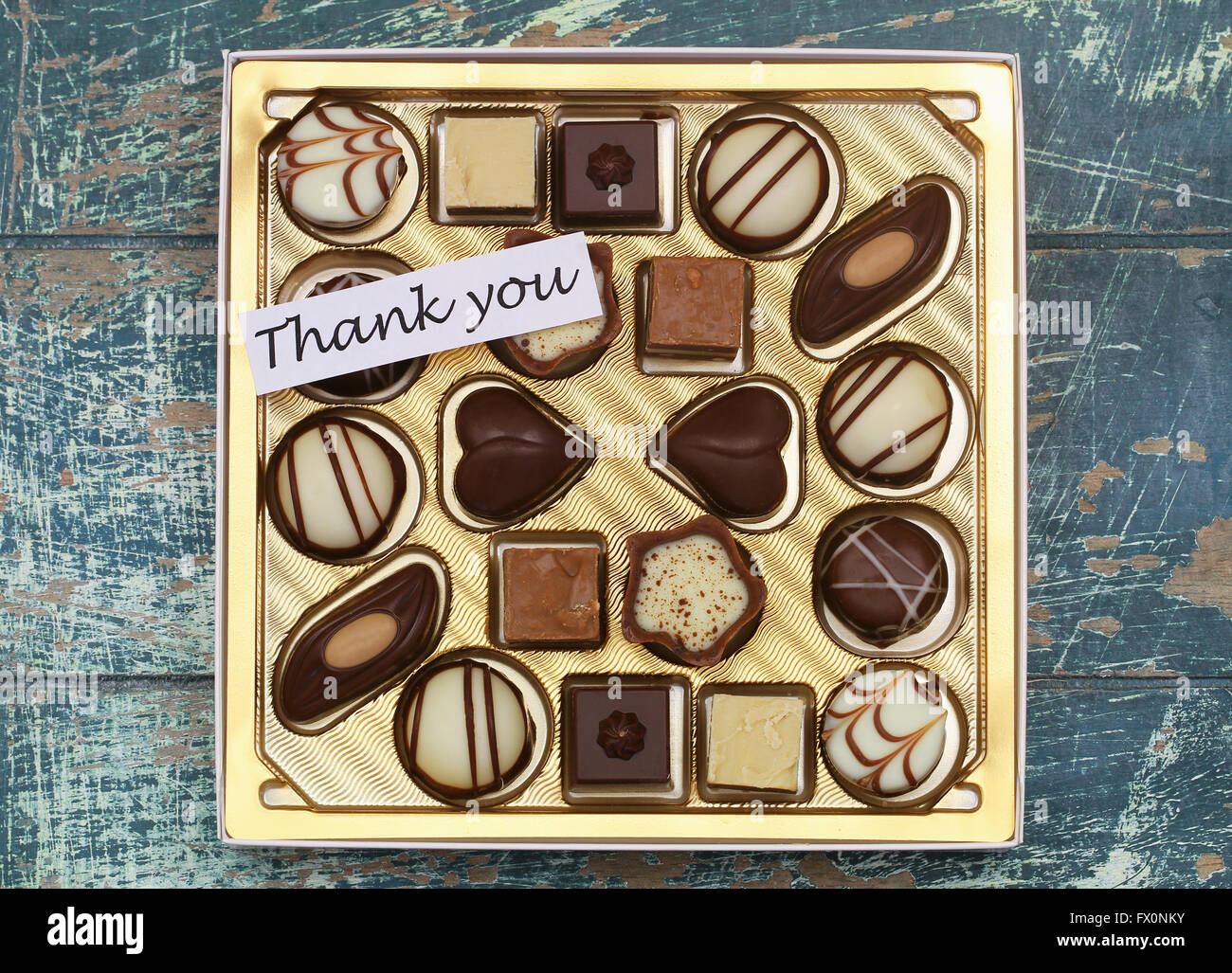 thank you card with box of assorted milky white and pure chocolates