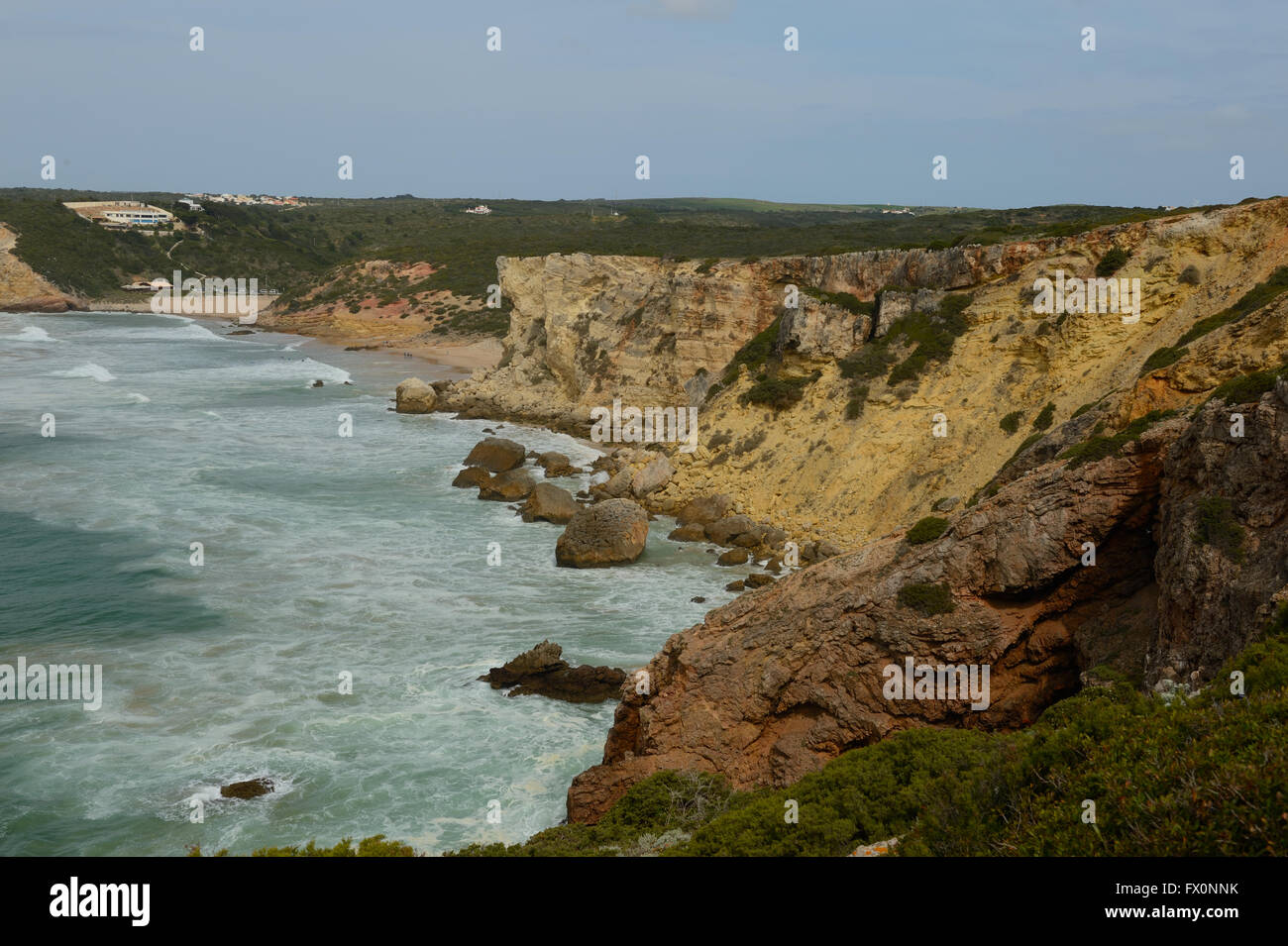 The cliffs at Zavial on the Algarve in Portugal show ancient changes in sea level and climate causing different - Stock Image