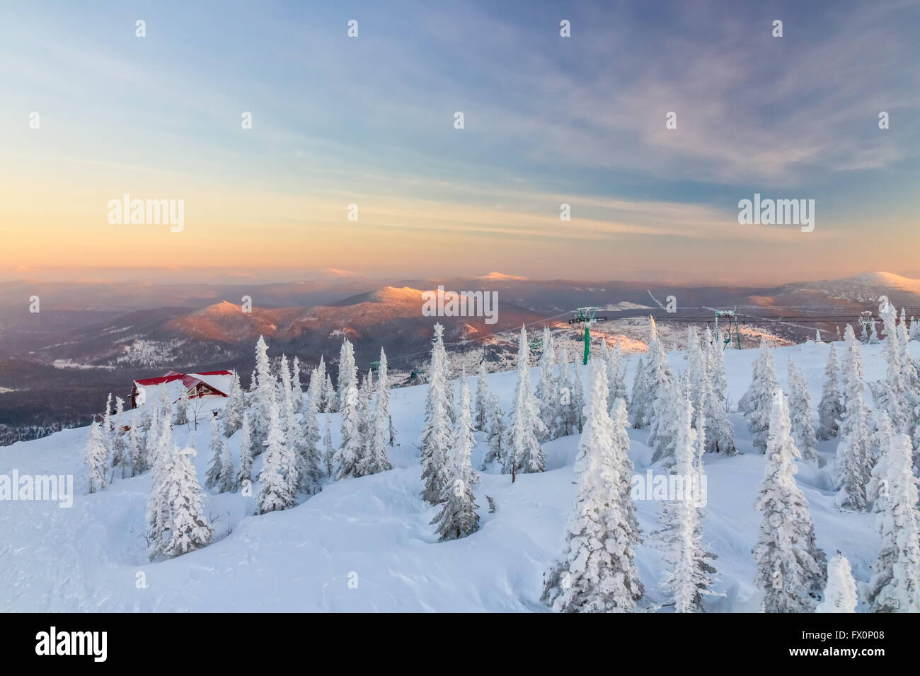 Winter sunset from the mountain top in Sheregesh, Siberia, Russia - Stock Image